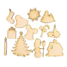 Wooden Laser Cut Shapes Various Sizes Decorative 12 Christmas Shapes Toppers